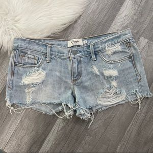 Abercrombie & Fitch Distressed Light Wash Shorts